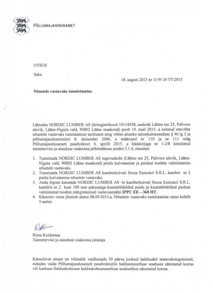 Kambri heakskiit 18.08.2015