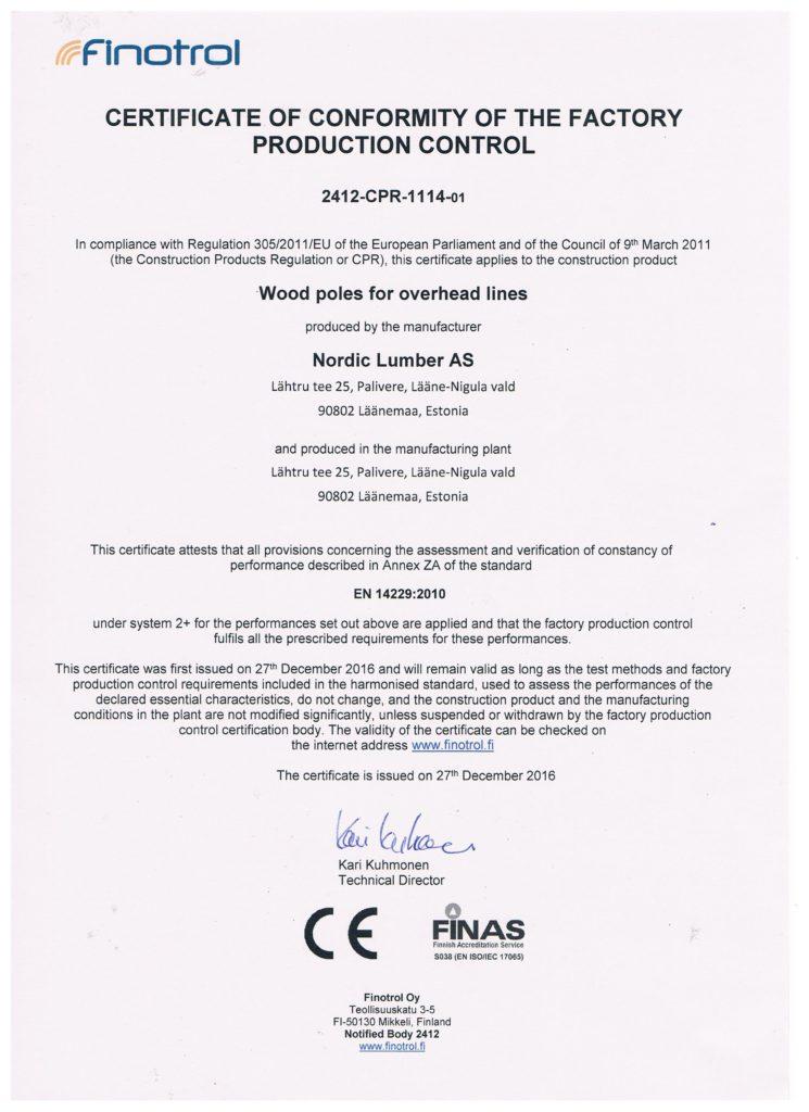 certificate of confirmity väike